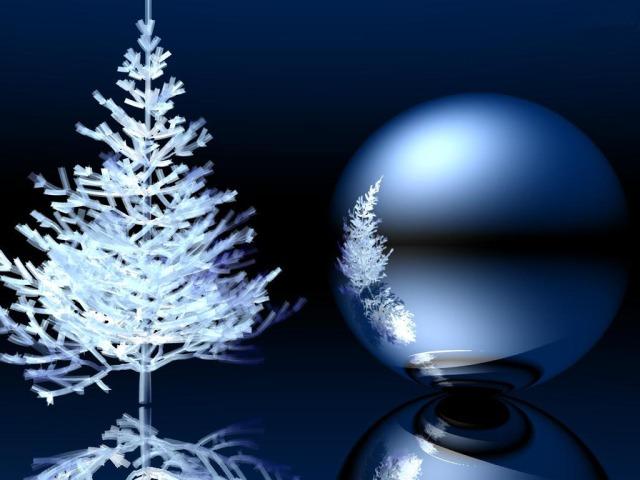 Fondo de escritorio: Árbol de Navidad y esfera 3D