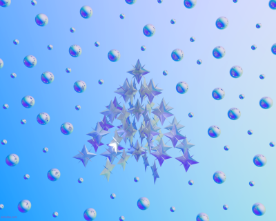 Fondo azul con esferas y arbol de navidad - Fondo de pantalla