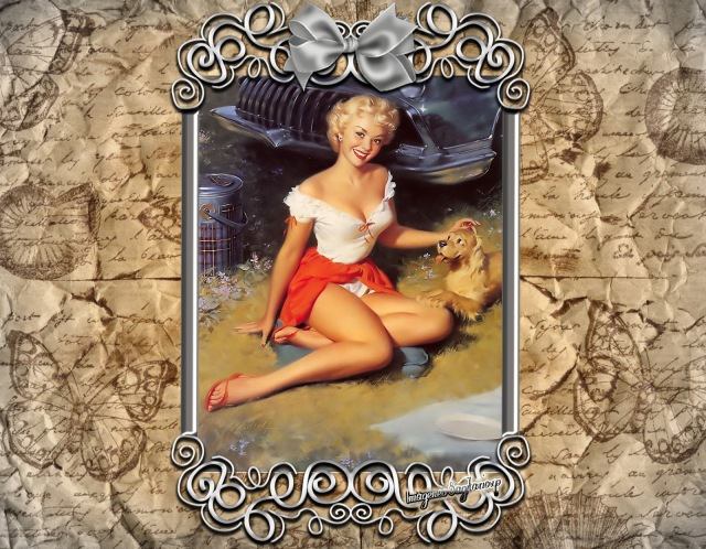 Fondo Vintage: Chica en cuadro de plata | Papel arrugado