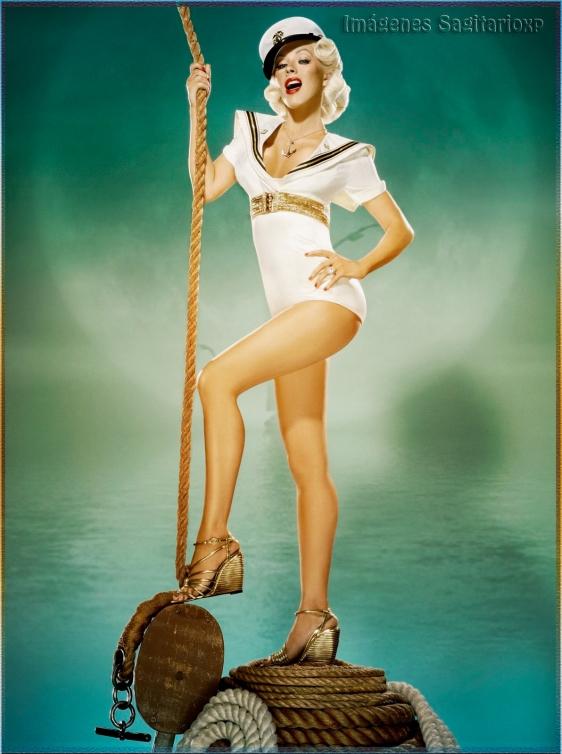 Imagen pin-up vintage de Christina Aguilera