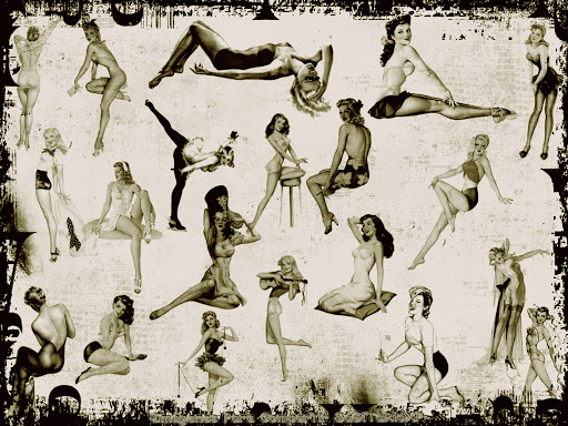 Wallpaper en blanco y negro | Chicas pin up