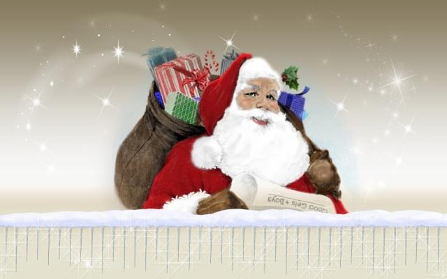 La lista de Santa Claus Santa cargadito de regalos