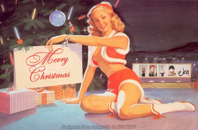 Wallpaper Navidad, chica sexi pin up