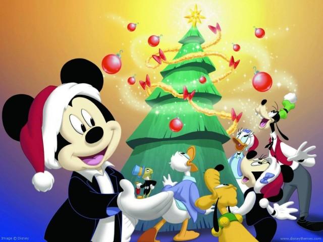 Mickey, Donald, Pluto, Goofy, Minie, Daisy y Pepito el Grillo, Fondo Navideño