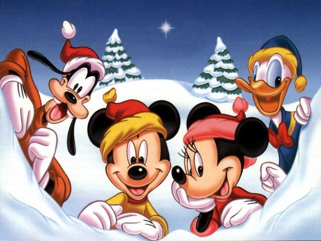 Fondo de escritorio Goofy, Mickey, Minie y Donald. Blanca Navidad