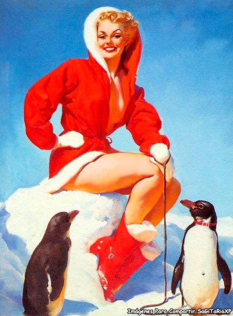 Imagen estilo Pin Up, Rubia con traje de Santa Claus y pingüinos amarrados