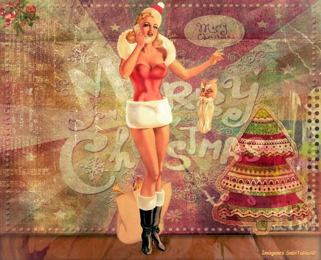 Santa Claus Girl | Fondo de pantalla vintage