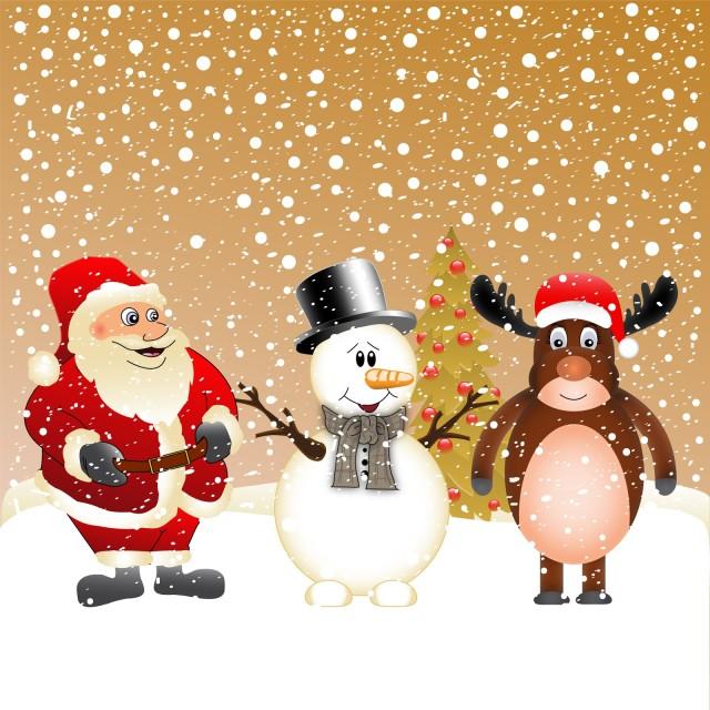 Santa Claus Muñeco de Nieve y Reno