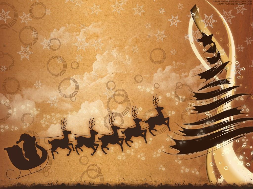 wallpaper trineo y renos fondo de pantalla de navidad
