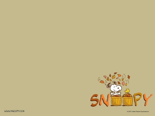Wallpaper Snoopy en otoñp