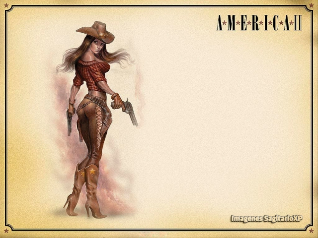 Sexy Cowboy Girl | Pin-up | Vintage | Wallpaper