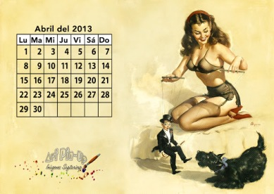 Calendario pin up 2013 - Retro vintage - Abril | Wallpaper