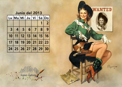 Calendario pinup junio 2013 | Fondo de pantalla | Wallpaper
