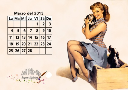 Calendario 2013 marzo | Pin Up | Vintage