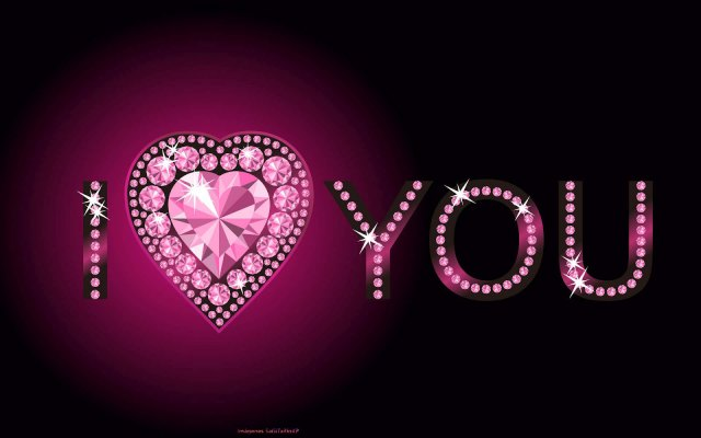 I ❤ You Wallpaper Fucsia y negro