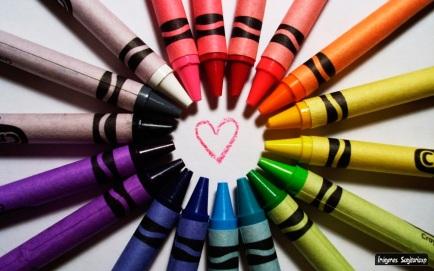 Colores, corazón, lapices de cera, wallpapers