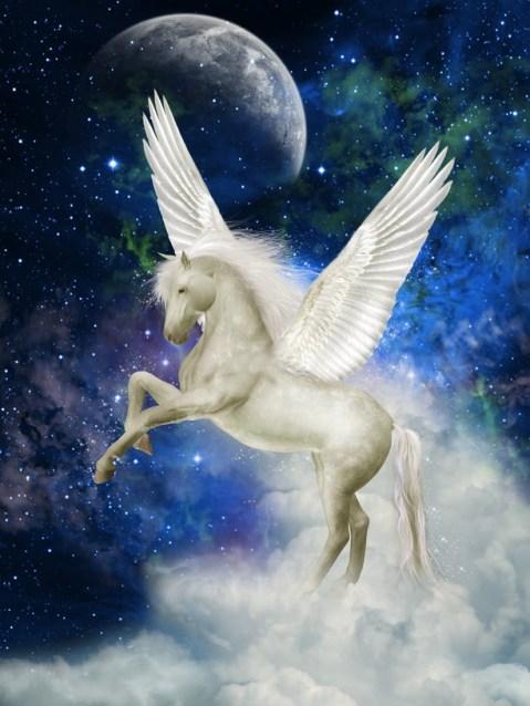 Pegaso, Luna y Estrellas Imagenes de fantasia