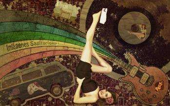 Fondo de pantalla Pin Up: Music Sailor | Retro Vintage | Wallpaper