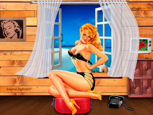 Wallpaper, fondo de pantalla, chica pin-up, retro, playa