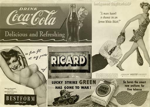 Fondo de pantalla retro vintage, con publicidad antigua.