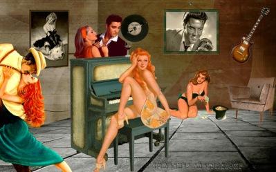 Fondo de pantalla retro vintage | El bar de Elvis Presley
